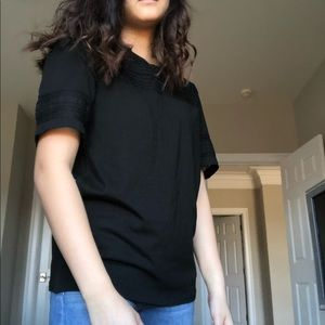 black tee with lace and mesh detail